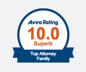 AVVO rating of 10 for Top Attorney in Family Law