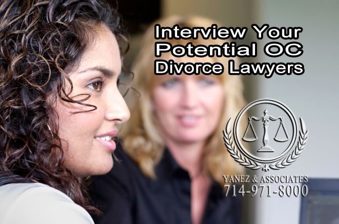 Interview Your Potential OC Divorce Lawyers