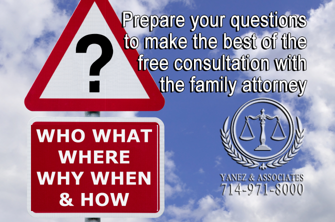 Prepare your questions to make the best of the free consultation with the family attorney